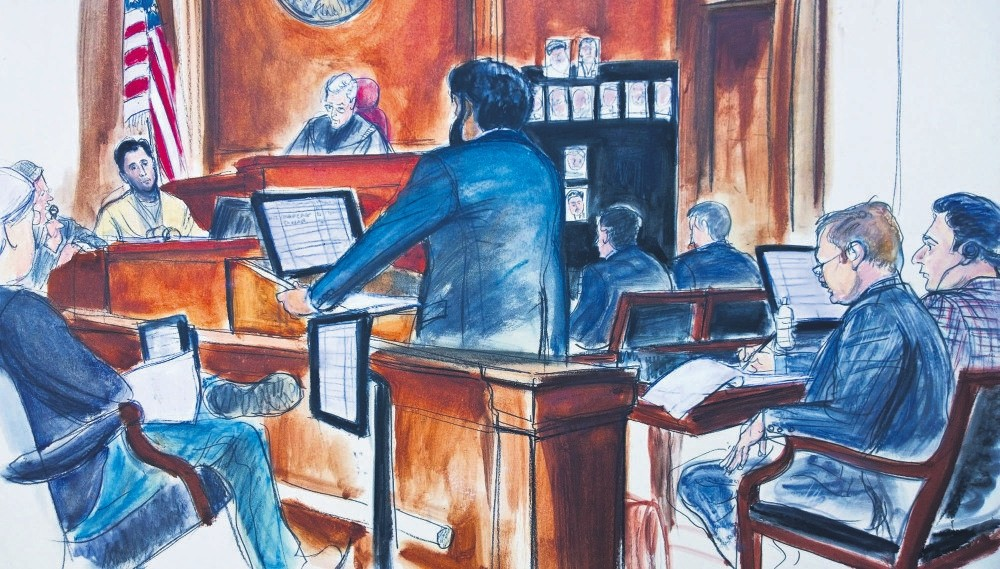 A courtroom sketch depicting Turkish-Iranian gold trader Reza Zarrab being questioned by assistant U.S. attorney Sidhardha Mamarju while defense attorney Victor Rocco (second from right) and Mehmet Hakan Atilla, Nov. 29.