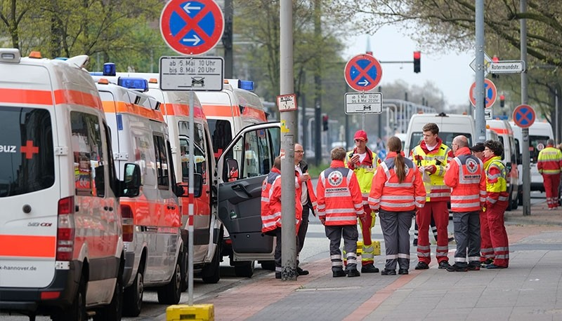 Ambulances are pictured on May 7, 2017 in Hannover during the evacuation operation. (AFP Photo)