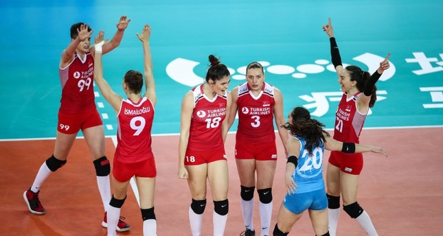 The Turkish players celebrate their victory against the U.S. players, June 11, 2019.