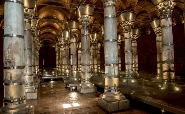 Theodosius Cistern features 32 columns inside, and was possibly built in the period of Roman Emperor Theodosius II.