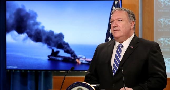 وزير الخارجية الأمريكي مايك بومبيو في مؤتمر صحفي حول حادث خليج عمان (وكالة الأنباء الفرنسية)
