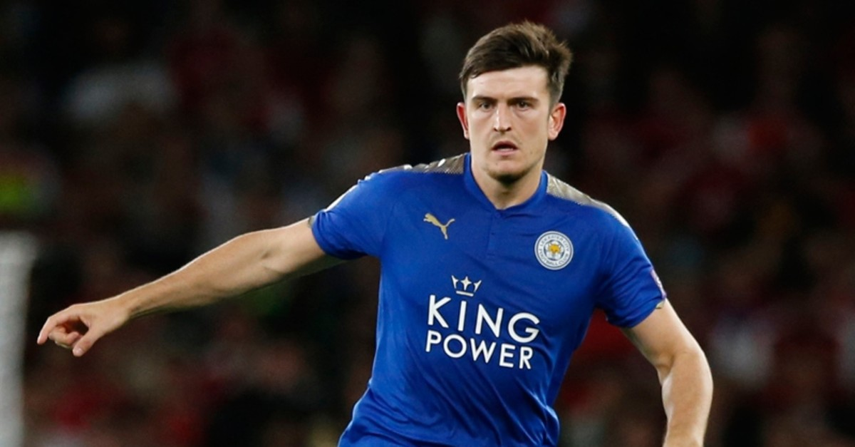 In this Friday, Aug. 11, 2017 file photo, Leicester City's Harry Maguire looks to pass the ball during their English Premier League football match between Arsenal and Leicester City at the Emirates stadium in London. (AP Photo)