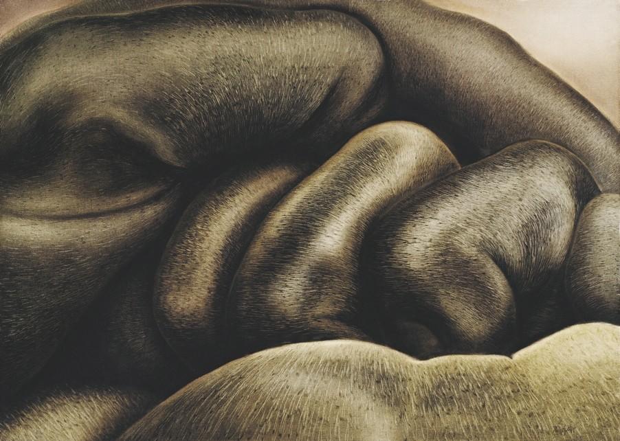 A work by Fatma Tu00fclin, made in 1983, 125x90 cm, oil on canvas.