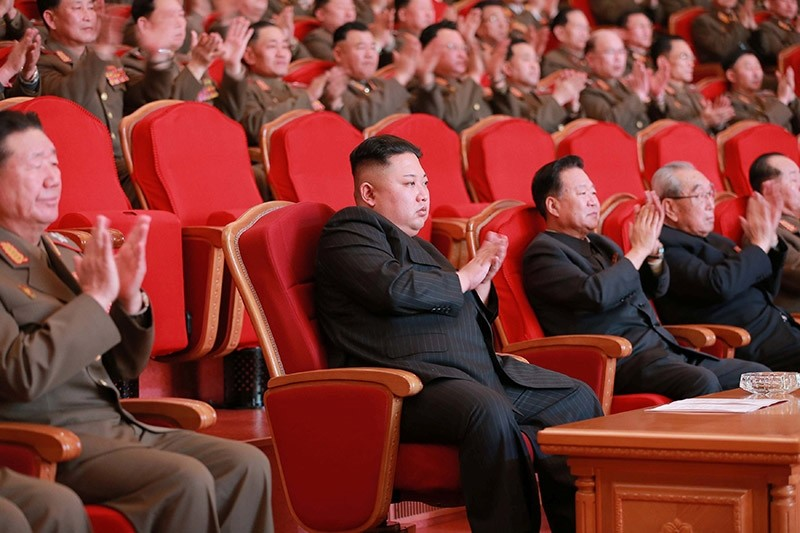 North Korean leader Kim Jong Un watches a performance given with splendor at the People's Theatre on Wednesday to mark the 70th anniversary of the founding of the State Merited Chorus. Feb. 23, 2017. (Reuters Photo)