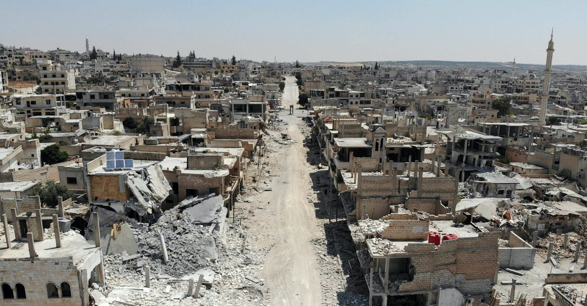 Destroyed buildings by the Syrian regime attacks in the town of Khan Sheikhun in the southern countryside of the northwestern Idlib province, Aug. 21, 2019.