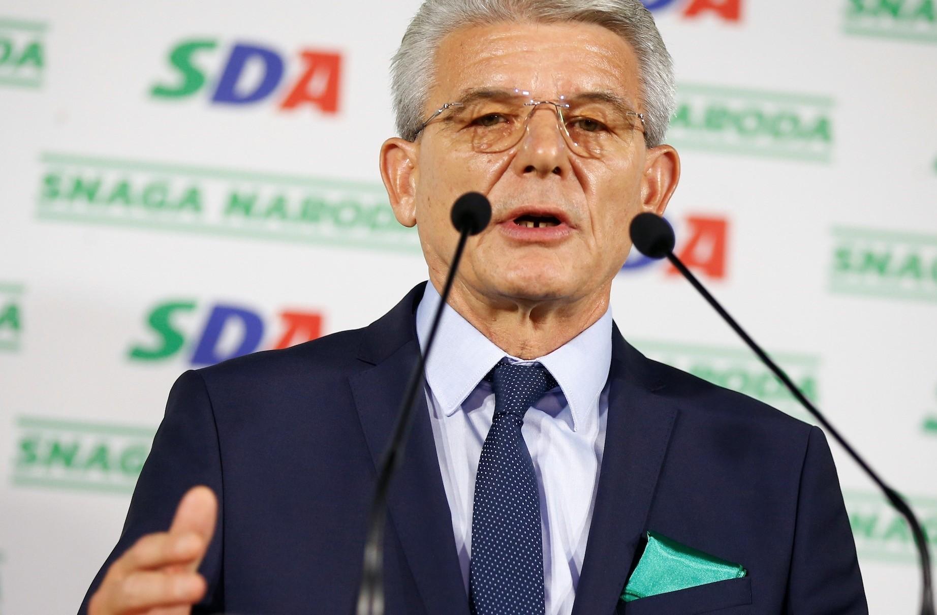 Sefik Dzaferovic attends a news conference where he declared himself the winner of the Bosniak seat of the tripartite Bosnian presidency, Sarajevo, Oct. 7.