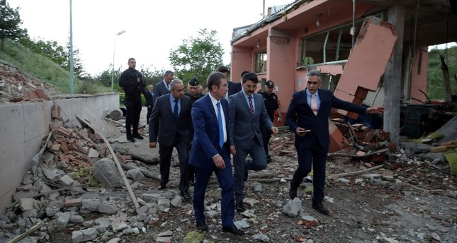 National Defense Minister Nurettin Canikli visits the scene of explosion at a gunpowder factory in Elmadağ district of capitak Ankara, May 25, 2018. AA Photo