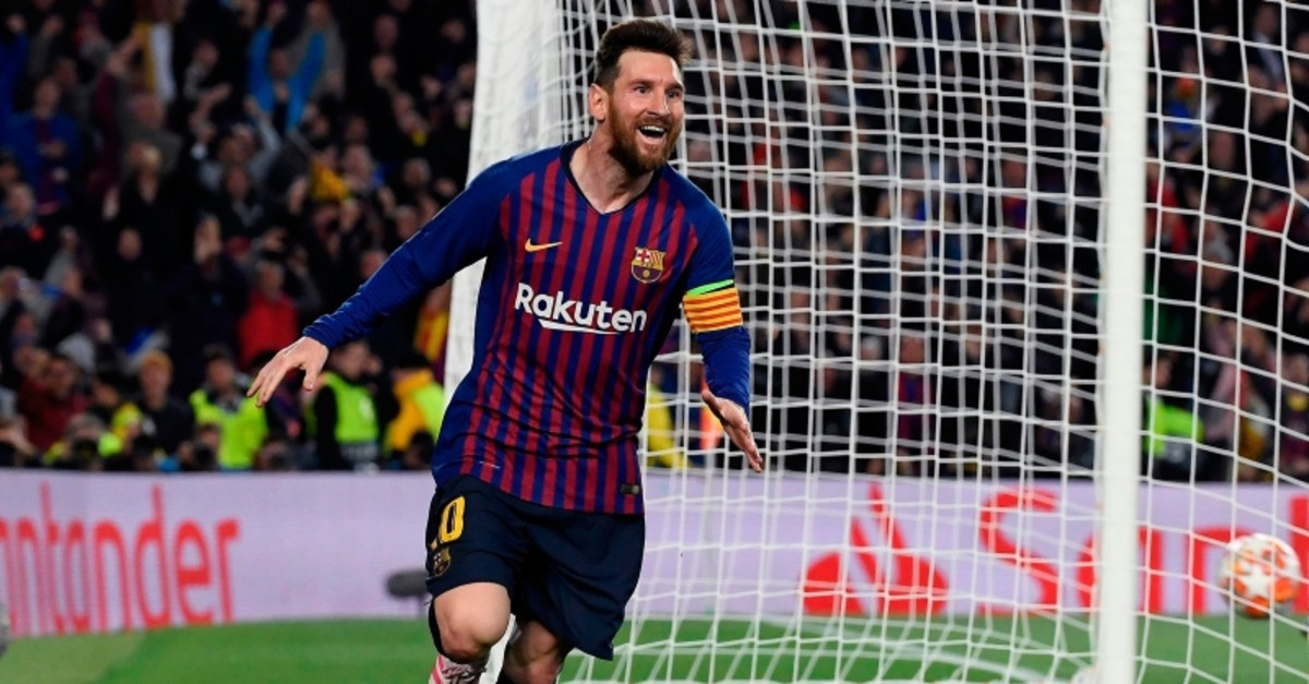 Barcelona's Argentinian forward Lionel Messi celebrates after scoring a goal during the UEFA Champions League semi-final first leg football match between Barcelona and Liverpool at the Camp Nou Stadium in Barcelona on May 1, 2019.