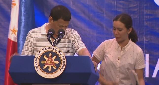 Cockroach Crawls On Philippine Leader Duterte's Shoulder