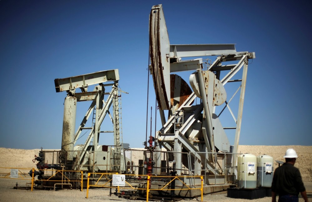 Pump jacks drill for oil in the Monterey Shale, California.