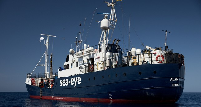 The rescue vessel Alan Kurdi seen 34 miles from the Libyan coast, July 5, 2019.