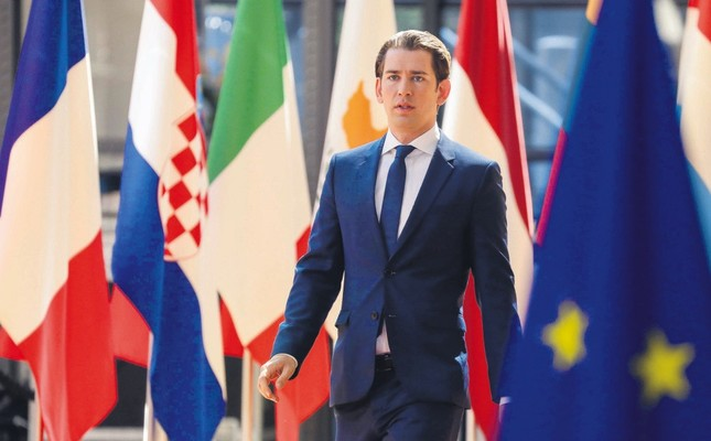Austria's Chancellor Sebastian Kurz arrives to take part in the last day of the EU leaders' summit at the Europa building, Brussels, June 29.