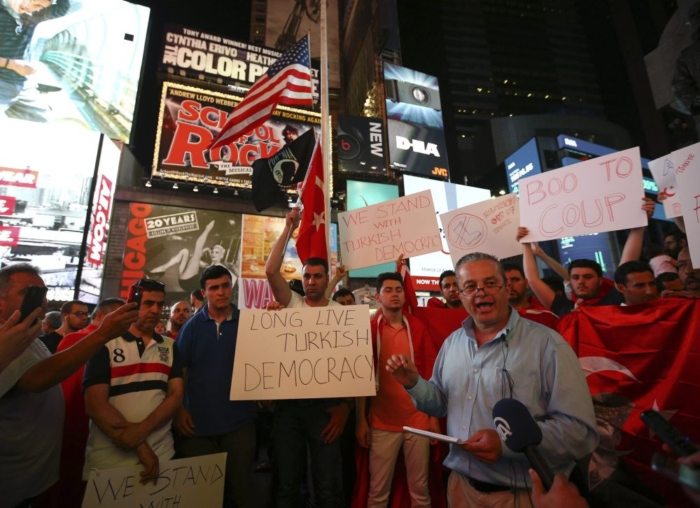 People protest FETu00d6's deadly attempted coup in Turkey, showing support for Turkish democracy, New York, July 16, 2016.