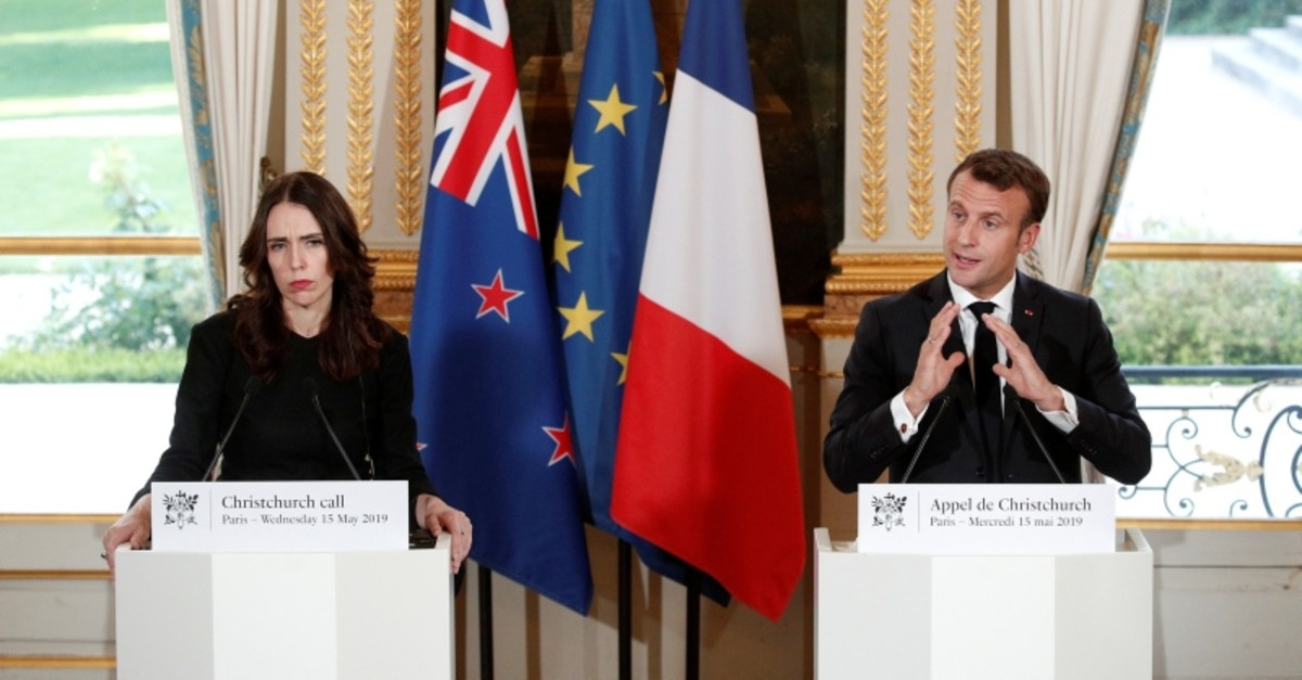 French President Emmanuel Macron and New Zealand's Prime Minister Jacinda Ardern hold a news conference during the 'Christchurch Call Meeting' at the Elysee Palace in Paris, France May 15, 2019. (Reuters Photo)