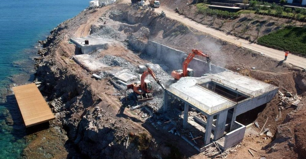 This undated photo shows an illegal structure being demolished in Bodrum, a popular resort town in southwestern Turkey.