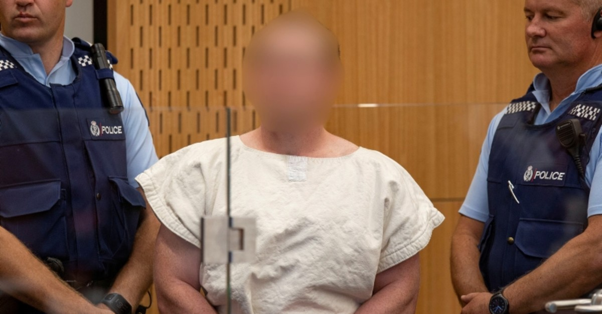 Brenton Tarrant, charged for murder in relation to the mosque terror attacks, is seen in the dock during his appearance in the Christchurch District Court, New Zealand March 16, 2019. (Reuters Photo)