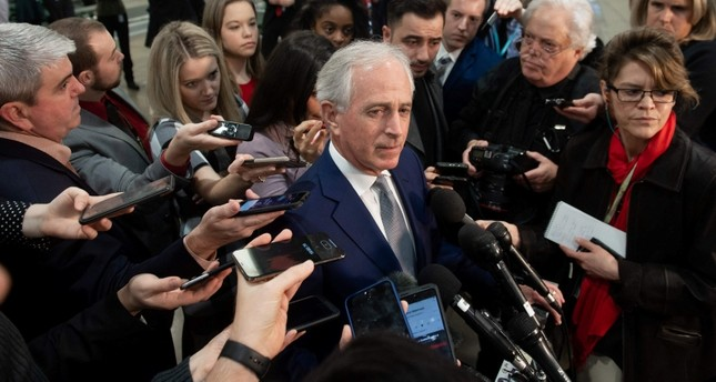 US Senator Bob Corker, Republican of Tennessee, speaks to the media following a briefing from CIA Director Gina Haspel on the killing of journalist Jamal Khashoggi, December 4, 2018 on Capitol Hill in Washington, DC. (AFP Photo)