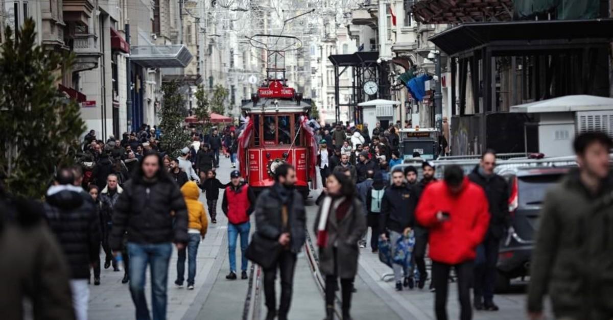 People walk on ?stiklal Avenue, Istanbul, Feb. 11, 2020. (AA Photo)