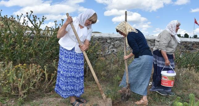The grandchildren of the Dukhobors planted saplings in their grandparents' memory.