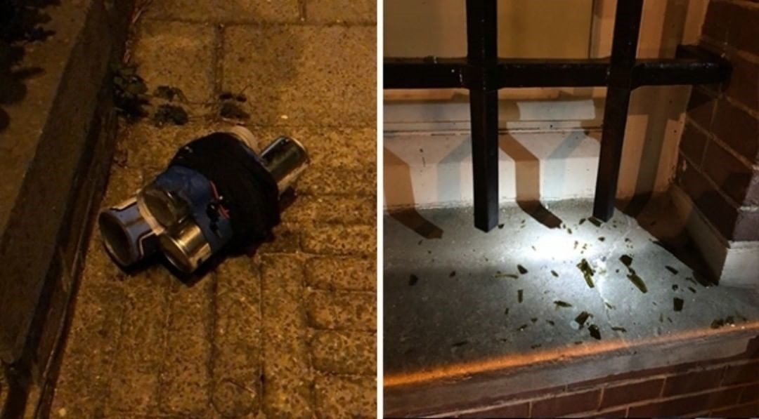 Combination of images shows the hand-made ecplosive device used by Polater to attack the Turkish consulate building.