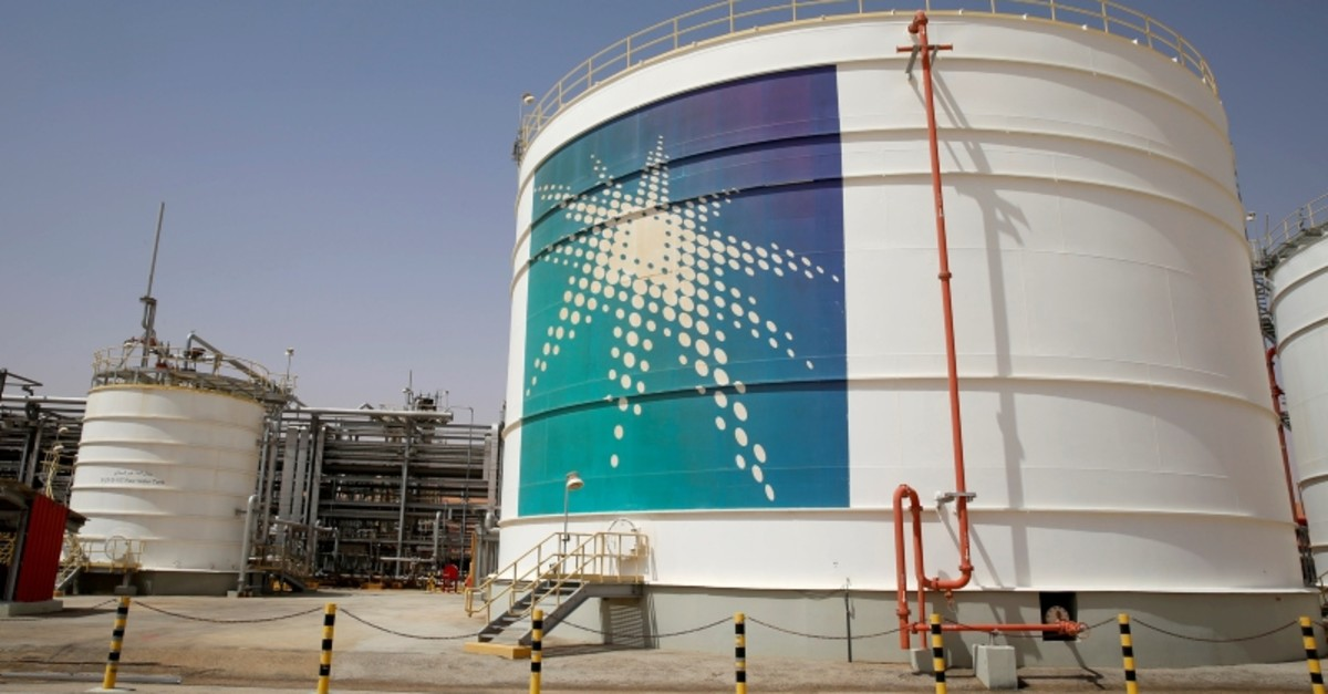 An Aramco oil tank is seen at the Production facility at Saudi Aramco's Shaybah oilfield in the Empty Quarter, Saudi Arabia May 22, 2018 (Reuters Photo)
