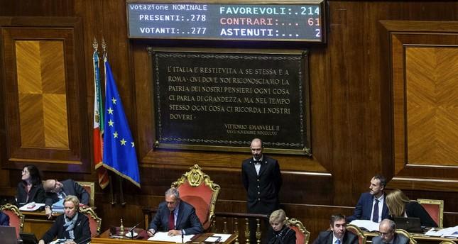President of the Italian Senate, Piero Grasso presides over the final vote of the new electoral law in Rome, Oct. 26.