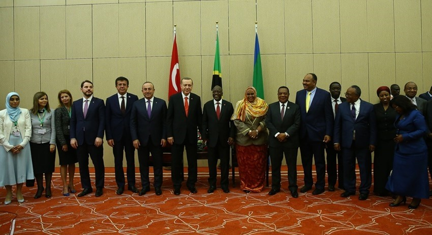President Erdou011fan and his delegation meet with their Tanzanian counterparts as part of Turkey's official visits to the African countries to increase the Turkish-African cooperation and partnership, earlier this year on Jan 23.
