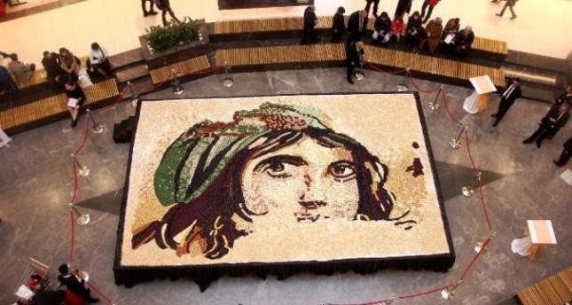 Giant 'baklava' mosaic depicting famous 'Gypsy Girl' breaks record in Gaziantep