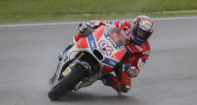 Italian MotoGP rider Andrea Dovizioso of the Ducati Team in action during the 2017 Malaysian Motorcycling Grand Prix at Sepang International Circuit, outside Kuala Lumpur.