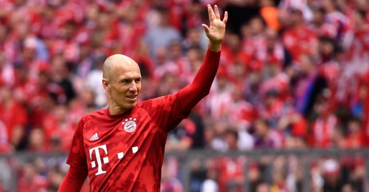 Bayern's Arjen Robben reacts before the German Bundesliga soccer match between FC Bayern Munich and Eintracht Frankfurt in Munich, Germany, May 18, 2019. (EPA Photo)