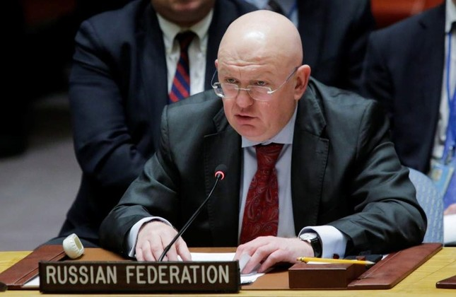 Russian ambassador to the U.N. Vasily Nebenzya speaks to members of the United Nations Security Council after voting for ceasefire to bombing in eastern Ghouta, Syria, at the United Nations headquarters in New York, Feb. 24, 2018. Reuters Photo