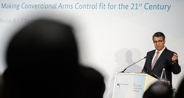 German Foreign Minister Sigmar Gabriel delivers a speech during the International Conference 'Making Conventional Arms Control fit for the 21st Century' in Berlin, Germany (EPA Photo)