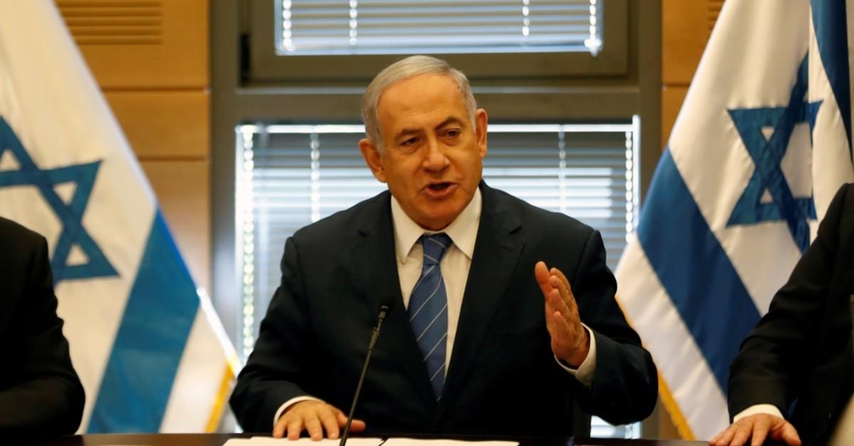 Israeli Prime Minister Benjamin Netanyahu delivers a statement to the media at Israel's parliament, Jerusalem, Sept. 23, 2019.