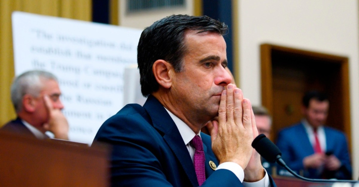 In this file photo taken on July 24, 2019 US Representative John Ratcliffe, Republican of Texas, listens as former Special Counsel Robert Mueller testifies in Washington, D.C. (AFP Photo)