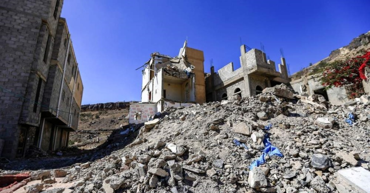 A view of the rubble at the former house of Yemeni girl Buthaina al-Rimi, whose home was destroyed by a 2017 airstrike in the capital Sanaa, killing her family and injuring her face, Dec. 27, 2018. (AFP Photo)
