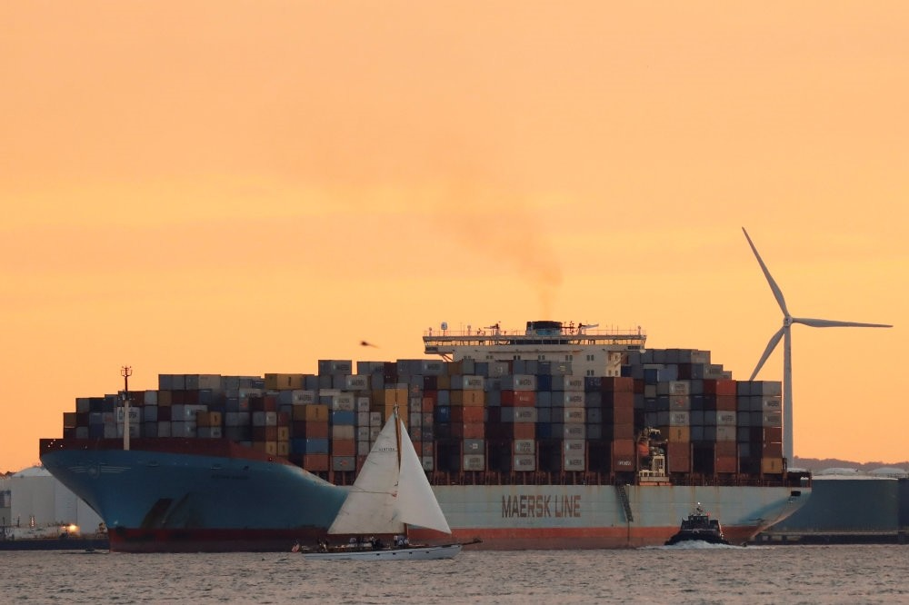 The Maersk ship Adrian Maersk is seen as it departs from New York Harbor.