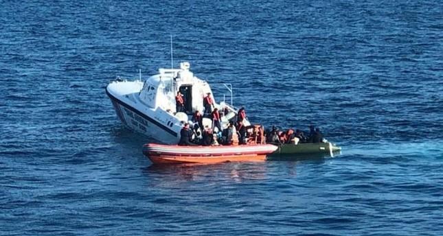 Turkish coast guard units captured 60 irregular migrants in the Aegean off the coast of Kuşadası district in Aydın province, western Turkey. DHA Photo