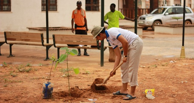 Students repaired a mosque and planted trees in the Niger leg of TİKA's program.