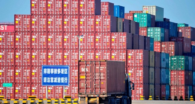 This file photo taken on June 24, 2019 shows containers at the Qingdao Port Foreign Trade Container Terminal in Qingdao, in China's eastern Shandong province. (AFP Photo)