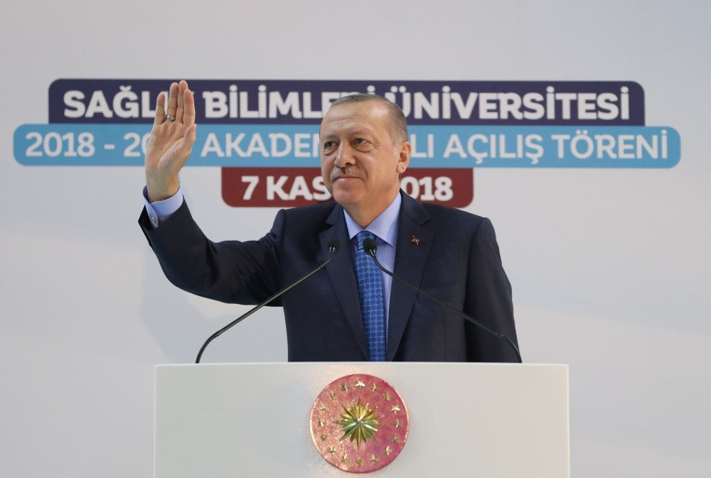 President Recep Tayyip Erdou011fan speaks at the academic year opening ceremony of the University of Health Sciences in Ankara yesterday.