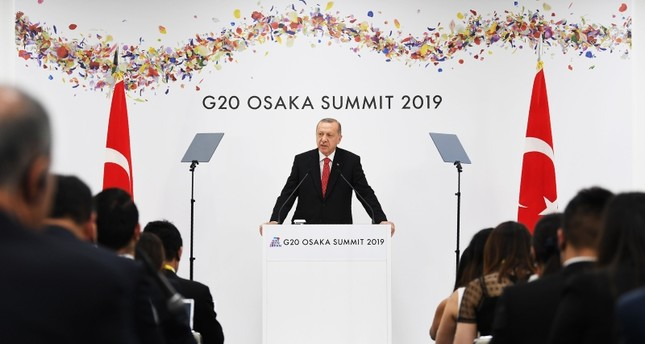 President Recep Tayyip Erdogan speaks at a press conference following the G20 Osaka Summit in Osaka on June 29, 2019 AFP Photo