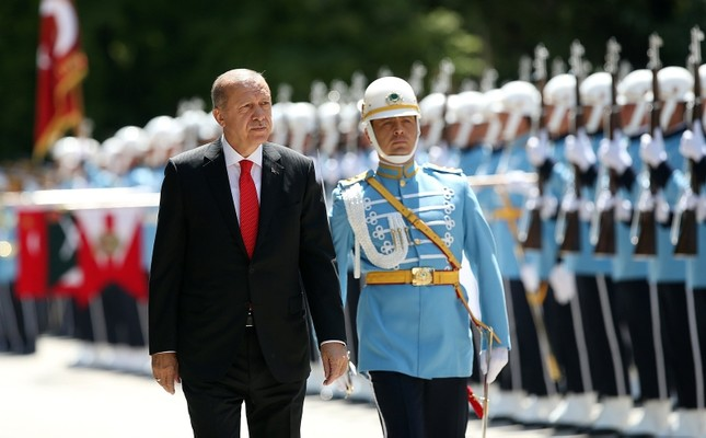 President Recep Tayyip Erdoğan inspects the ceremonial guard upon his arrival to the Grand National Assembly of Turkey, in Ankara, July 07, 2018. (AA Photo)