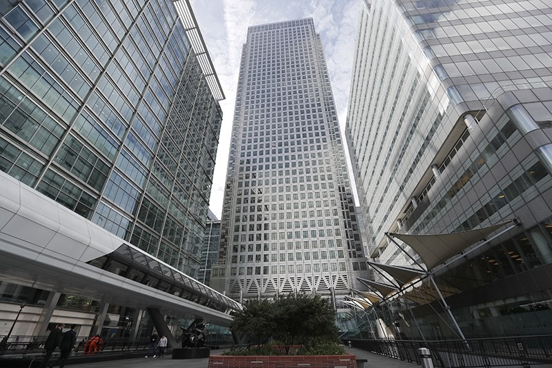 In this July 28, 2017 file photo, is One Canada Square house, center, that hosts the offices of the European Banking Authority EBA, headquarters in London. (AP Photo)