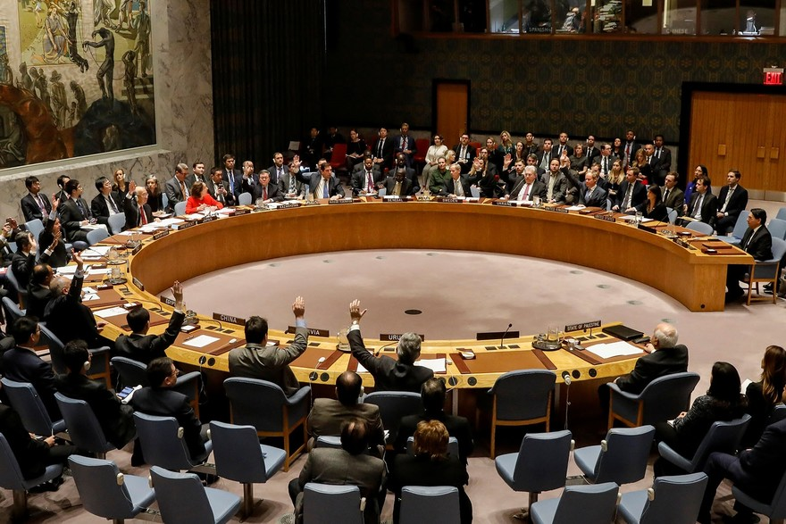 Votes in favor of an Egyptian-drafted resolution regarding recent decisions concerning the status of Jerusalem are being casted by members of the UNSC during a meeting on Palestine, at UN HQ in New York City, U.S., Dec. 18, 2017. (Reuters Photo)