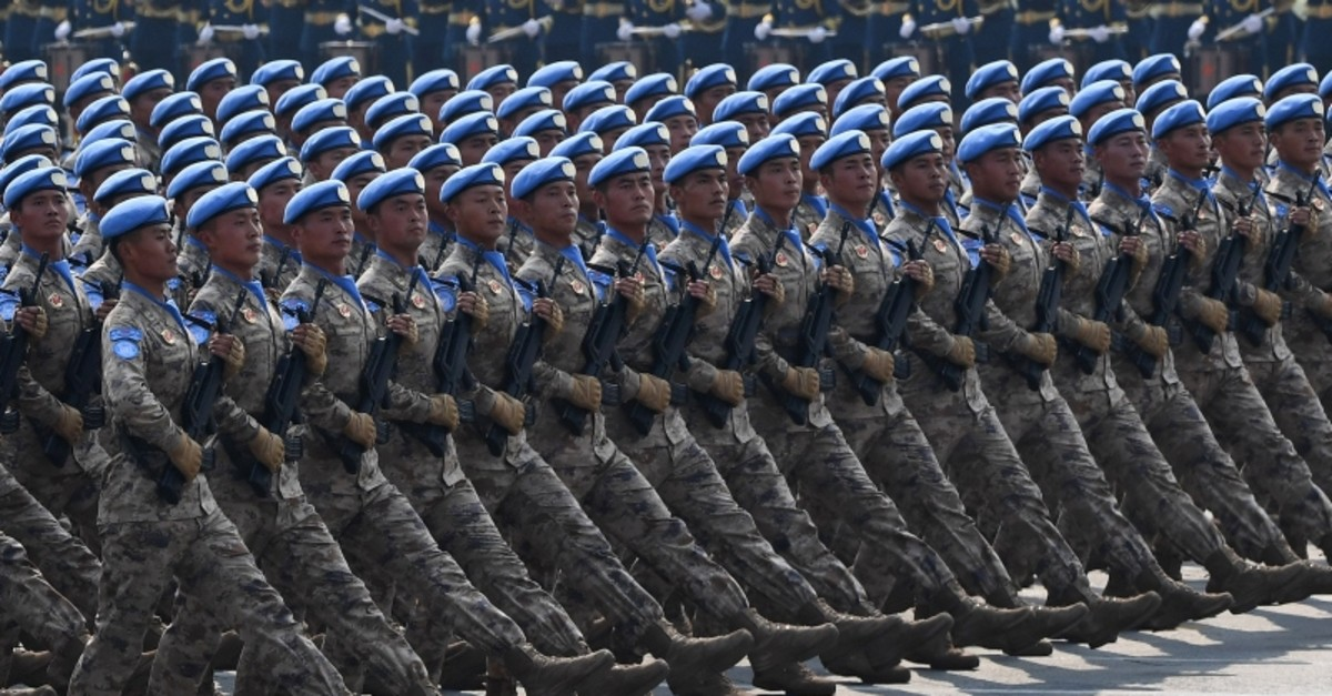 Chinese People's Liberation Army personnel participate in a military parade at Tiananmen Square in Beijing on October 1, 2019, to mark the 70th anniversary of the founding of the Peopleu2019s Republic of China. (AFP Photo)