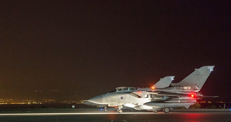 In this image released by Britain's Ministry of Defense, two of four RAF Tornados prepare to take-off from at Britain Royal Air Force base in Akrotiri, Cyprus Saturday, April 14, 2018. (AP Photo)