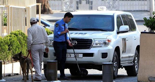 The United Nation vehicles carrying the Organisation for the Prohibition of Chemical Weapons (OPCW) invspectors arrive in Damascus, Syria April 14, 2018. (Reuters Photo)