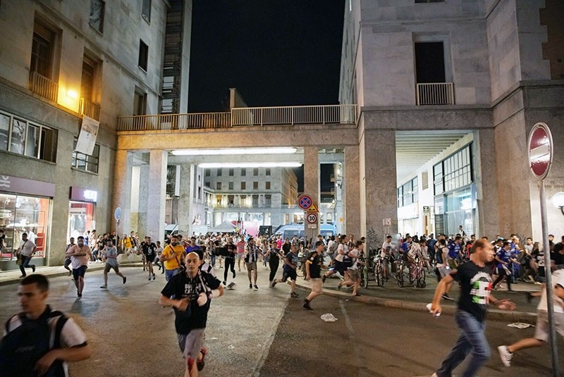 Italian soccer fans flee San Carlo's Square in panic after reports of an explosion during a televised viewing of the UEFA Champions League final soccer match between Juventus FC and Real Madrid CF, in Turin. (EPA Photo)