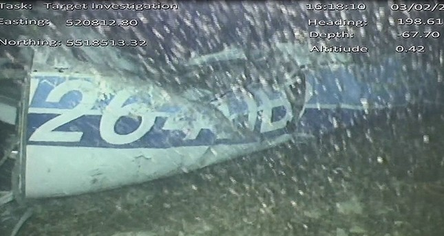 Handout video footage released by the U.K. Air Accidents Investigation Branch (AAIB) shows part of the wreckage from the missing Piper Malibu aircraft that disappeared carrying footballer Emiliano Sala lying on seabed of English Channel. (AFP Photo)