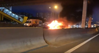 Tesla Model 3 catches fire after collision in Moscow